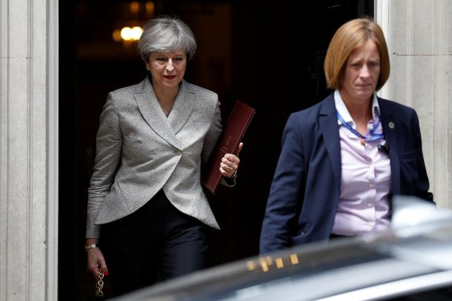 Britain's Prime Minister Theresa May, leaves 10 Downing Street in central London, Britain June 13, 2017.  REUTERS/Phil Noble