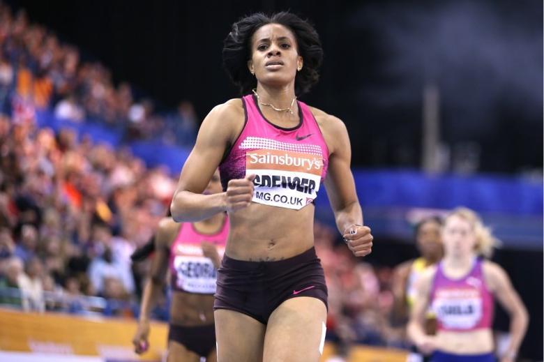 Athletics - Sainsburys Indoor Grand Prix - National Indoor Arena, Birmingham - 15/2/14 Women's 400m - Kaliese Spencer of Jamaica Mandatory Credit: Action Images / Steven Paston EDITORIAL USE ONLY.