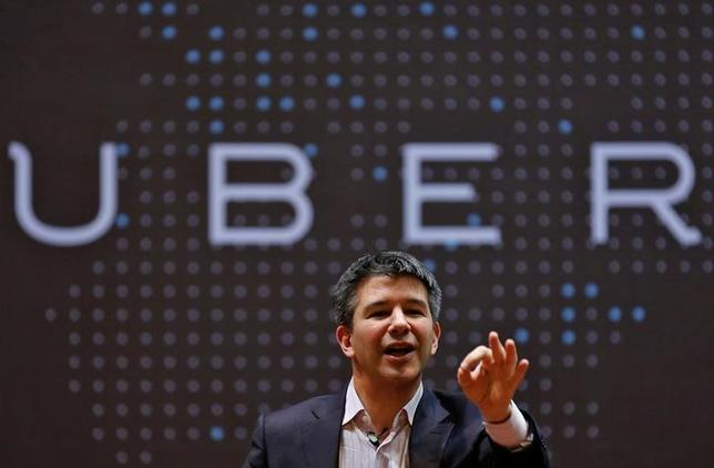 Uber CEO Travis Kalanick speaks to students during an interaction at the Indian Institute of Technology (IIT) campus in Mumbai, India, January 19, 2016. REUTERS/Danish Siddiqui/File Picture
