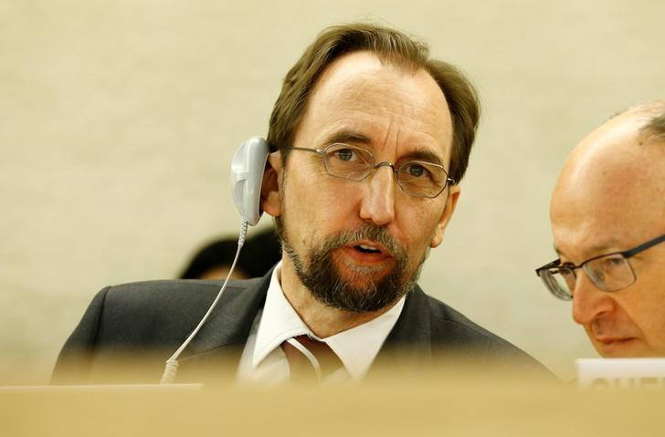 United Nations High Commissioner for Human Rights Zeid Ra'ad Al Hussein attends the Human Rights Council in Geneva, Switzerland June 6, 2017. REUTERS/Denis Balibouse/Files