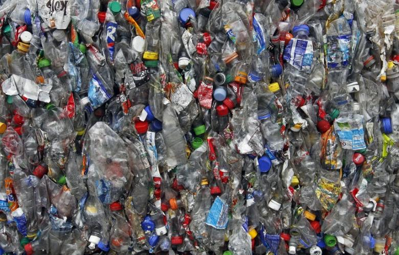 FILE PHOTO: Pressed plastic bottles are seen at a dumping ground in Uholicky village, near Prague April 10, 2013.   REUTERS/Petr Josek