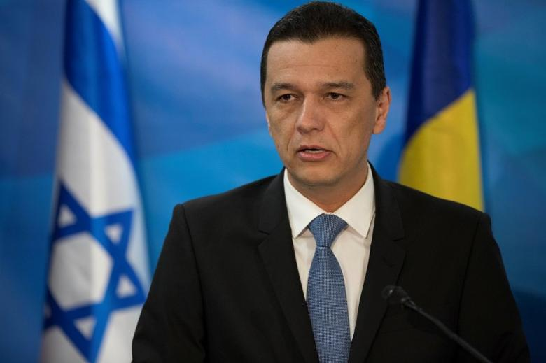 Romanian Prime Minister Sorin Grindeanu speaks as he delivers joint statements with his Israeli counterpart Benjamin Netanyahu in Jerusalem May 4, 2017. REUTERS/Abir Sultan/Pool