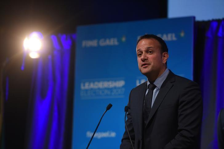 Leo Varadkar makes his acceptance speech at the count centre as he wins the Fine Gael parliamentary elections to replace Prime Minister of Ireland (Taoiseach) Enda Kenny as leader of the party in Dublin, Ireland June 2, 2017. REUTERS/Clodagh Kilcoyne