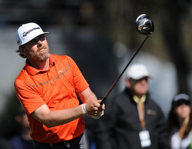 FILE PHOTO: February 20, 2016; Pacific Palisades, CA, USA; Justin Leonard hits from the fifteenth tee during the third round of the Northern Trust Open golf tournament at Riviera Country Club. Gary A. Vasquez-USA TODAY Sports
