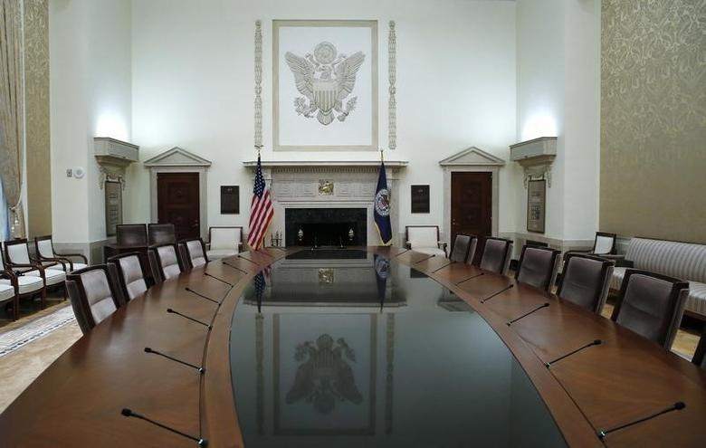 资料图片:2014年2月,美联储总部内的一间会议室。REUTERS/Jim Bourg