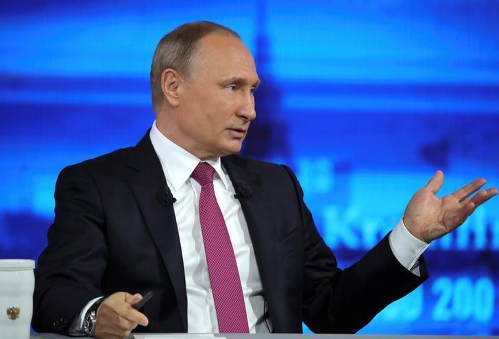 Russian President Vladimir Putin attends a live nationwide broadcasted call-in in Moscow, Russia, June 15, 2017. Sputnik/Mikhail Klimentyev/Kremlin via REUTERS