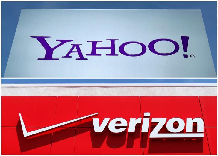 A combination photo shows Yahoo logo in Rolle, Switzerland (top) in 2012 and a Verizon sign at a retail store in San Diego, California, U.S. In 2016. REUTERS/File Photos/