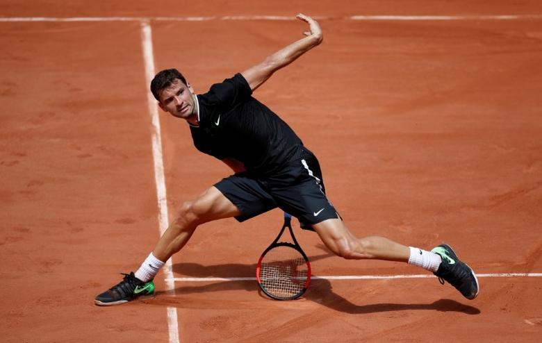 Bulgaria's Grigor Dimitrov in action during his second round match against Spain's Tommy Robredo. REUTERS/Christian Hartmann