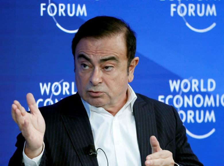FILE PHOTO: Carlos Ghosn, CEO of Renault-Nissan Alliance attends the World Economic Forum (WEF) annual meeting in Davos, Switzerland January 20, 2017.  REUTERS/Ruben Sprich