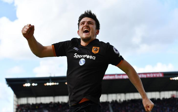 Britain Soccer Football - Stoke City v Hull City - Premier League - bet365 Stadium - 15/4/17 Hull City's Harry Maguire celebrates scoring their first goal Reuters / Anthony Devlin Livepic/files