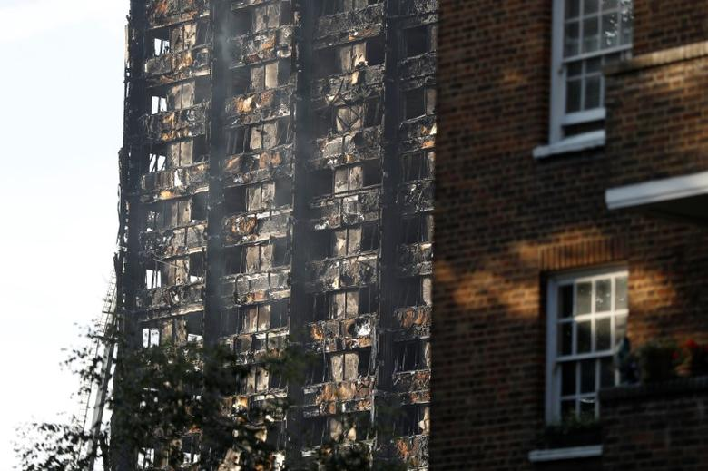 Damage to the tower block. REUTERS/Peter Nicholls