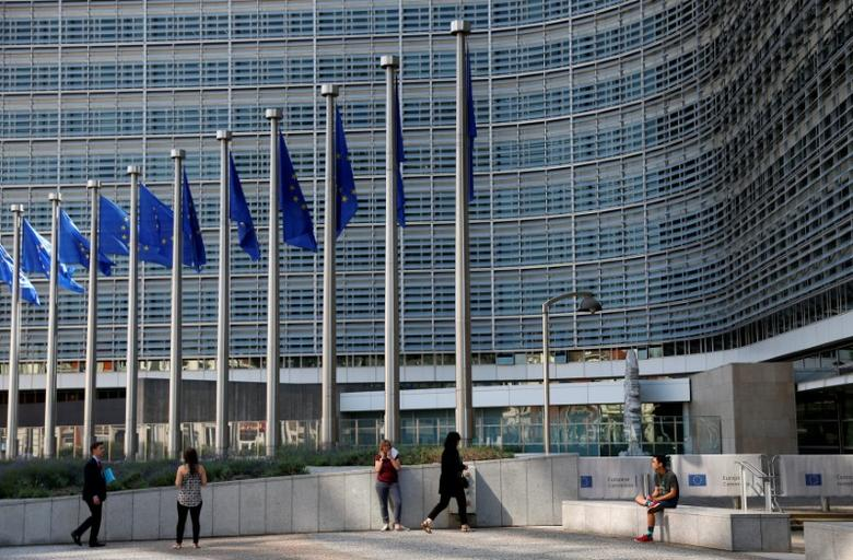 People are pictured outside the European Commission headquarters in Brussels, Belgium June 14, 2017. REUTERS/Francois Lenoir
