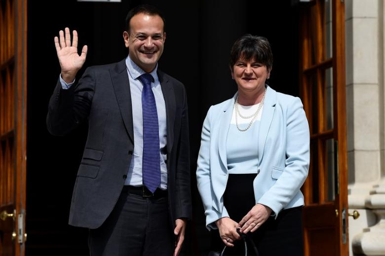 Prime Minister of Ireland (Taoiseach) Leo Varadkar greets the leader of the Democratic Unionist Party (DUP), Arlene Foster on the steps of Government buildings in Dublin, Ireland June 16, 2017. REUTERS/Clodagh Kilcoyne