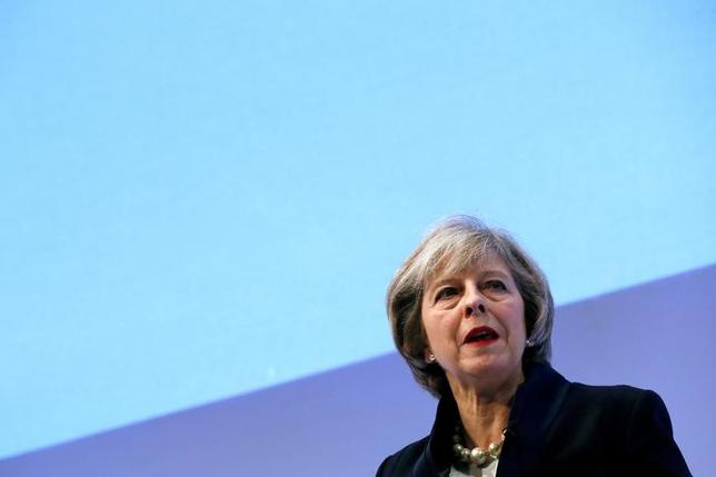 Britain's Prime Minister Theresa May addresses the Confederation of British Industry's (CBI) annual conference in London, November 21, 2016. REUTERS/Stefan Wermuth/Files