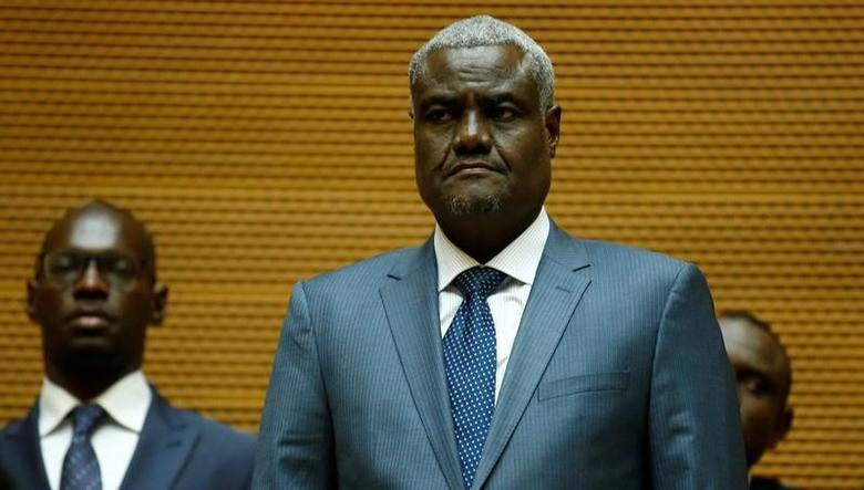FILE PHOTO: Newly elected African Union Commission Chairman, Chadian Foreign Minister Moussa Faki Mahamat attends his swearing-in ceremony at the African Union (AU) headquarters in Ethiopia's capital, Addis Ababa, March 14, 2017. REUTERS/Tiksa Negeri