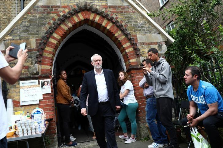 Britain's opposition Labour Party leader, Jeremy Corbyn, visits the scene of a fire disaster which destroyed a tower block, in north Kensington, West London, Britain June 15, 2017. REUTERS/Neil Hall