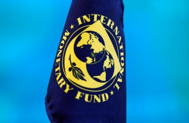 2017年6月19日,日本东京,国际货币基金组织(IMF)第一副总裁利普顿记者会上该组织旗帜。REUTERS/Kim Kyung-Hoon