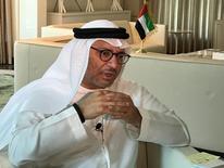 أنور قرقاش وزير الدولة الإماراتي للشؤون الخارجية خلال مقابلة مع رويترز في أبوظبي يوم 7 يونيو حزيران 2017. صورة لرويترز. تستخدم الصورة في الاغراض التحريرية فقط وتحظر إعادة بيعها أو حفظها في أرشيف.