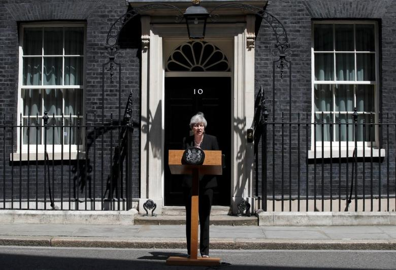 Britain's Prime Minister, Theresa May, speaks outside 10 Downing Street, following the attack at Finsury Park Mosque, in central London. REUTERS/Stefan Wermuth