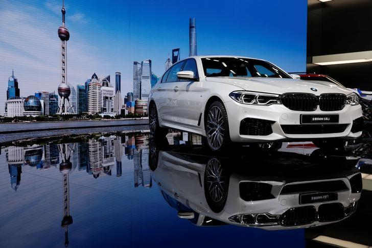 A BMW 5-Series Li car is displayed at the Shanghai Auto Show during its media day, in Shanghai, China April 19, 2017. REUTERS/Aly Song