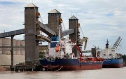 Carga de granos para exportación en el río Paraná, cerca de Rosario, Argnetina. 31 de enero de 2017. La carga de buques comenzaba a normalizarse el lunes en el norte de Rosario, el mayor polo agroportuario de Argentina, debido a que personal temporal se hacía cargo de las tareas de obreros portuarios que llevan cinco días en huelga, dijo un portavoz de la cámara de exportadores CIARA-CEC. REUTERS/Marcos Brindicci
