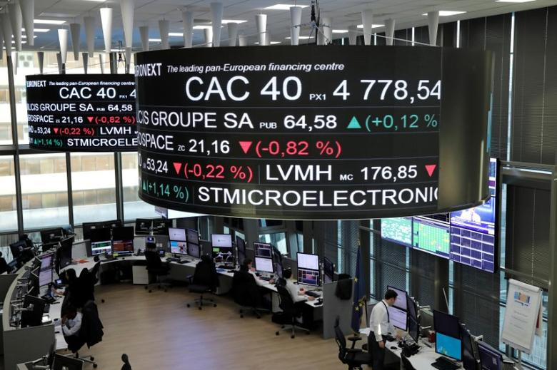 Stock index price for France's CAC 40 and company stock price information are displayed on screens as they hang above the Paris stock exchange, operated by Euronext NV, in La Defense business district in Paris, France, December 14, 2016. REUTERS/Benoit Tessier - RTX2V16B