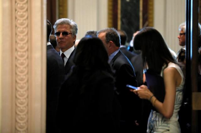 SAP CEO Bill McDermott (L) joins fellow tech company leaders at a summit of the American Technology Council at the Eisenhower Executive Office Building in Washington, U.S. June 19, 2017.  REUTERS/Jonathan Ernst