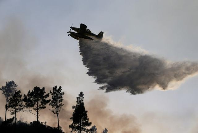 A firefighting plane dumps water on a forest fire in Mendeira, Portugal June 19, 2017. REUTERS/Miguel Vidal