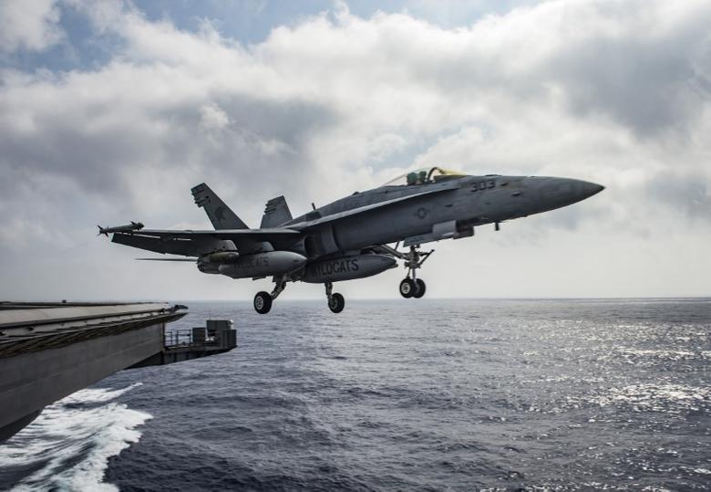A U.S. Navy F/A-18E Super Hornet launches from the flight deck of the aircraft carrier USS Dwight D. Eisenhower (CVN 69) in the Mediterranean Sea June 28, 2016.   U.S. Navy/Mass Communication Specialist 2nd Class Ryan U. Kledzik/Handout via Reuters