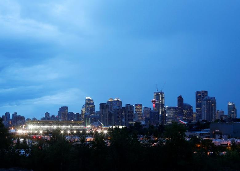 FILE PHOTO - Calgary is pictured at dusk in Alberta, Canada July 13, 2016. REUTERS/Todd Korol