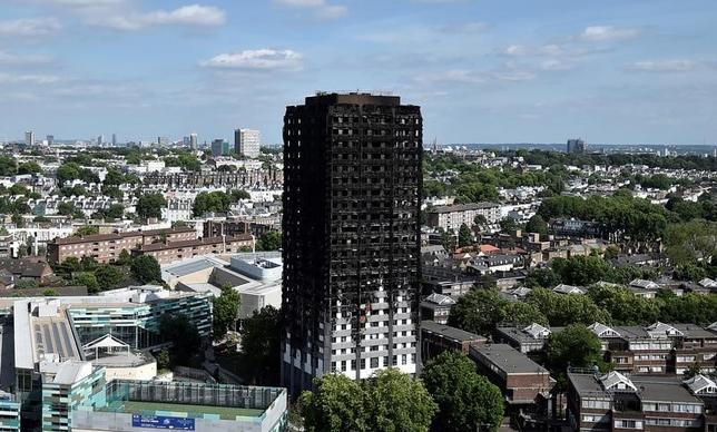 6月22日、英国のメイ首相は、79人の死者・行方不明者を出したロンドンの高層公営住宅(写真)の火災を受けた調査で、国内の多数の高層住宅の外壁に可燃性の被覆材が使用されていることが分かったと議会で明らかにした。16日撮影(2017年 ロイター/Hannah McKay)