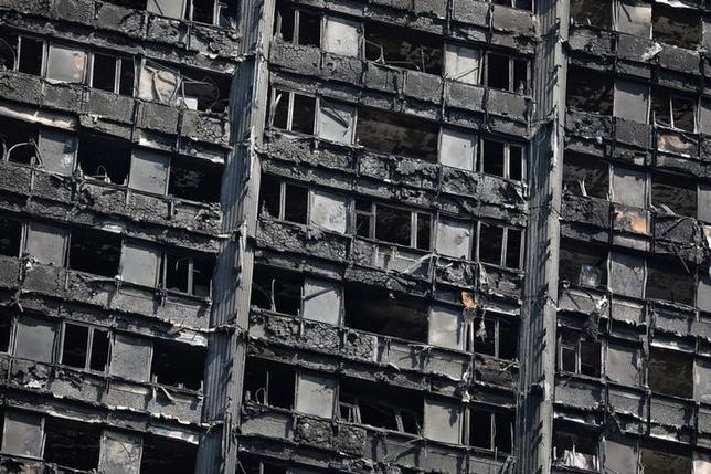 6月23日、英ロンドン警察は、79人の死者・行方不明者を出した高層公営住宅「グレンフェルタワー」(写真)の火災について、火元は米家電大手ワールプールのブランド「ホットポイント」の冷凍冷蔵庫だったと明らかにした。20日撮影(2017年 ロイター/Marko Djurica)
