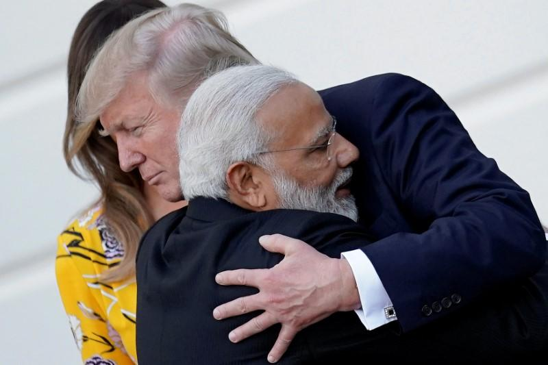 Image result for Trump and Modi hugging