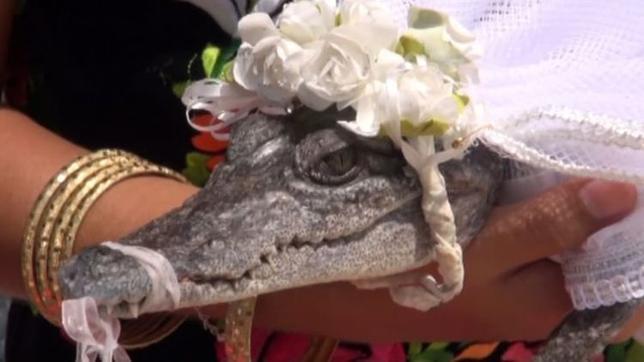 6月30日、メキシコの漁業の町サン・ペドロ・ウアメルラで、市長がワニの花嫁と結婚式を挙げた。地域の平和と繁栄を祈る古くからの伝統儀式だという。写真はロイタービデオの映像から(2017年 ロイター)