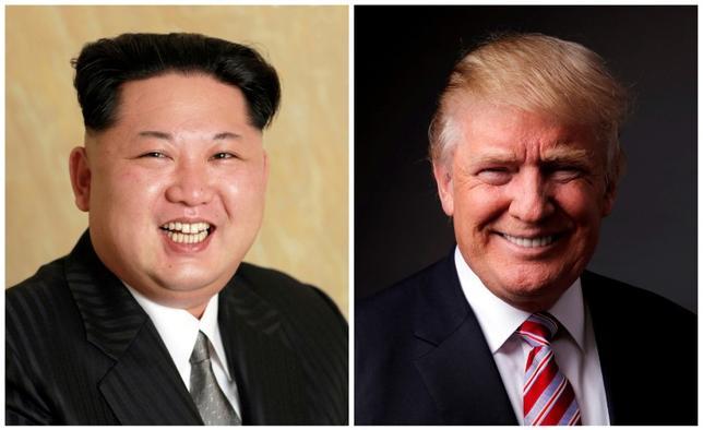 7月4日、トランプ米大統領は北朝鮮による一連のミサイル発射実験を受けて強硬発言を繰り返しているが、歴代米政権が苦慮してきた同国への対応を巡っては、選択肢が限られているというのが現状のようだ。左は朝鮮中央通信が昨年5月に配信した金正恩・朝鮮労働党委員長の写真、右は米大統領候補だった時にロイターの取材に応じたトランプ氏。昨年5月撮影(2017年 ロイター)
