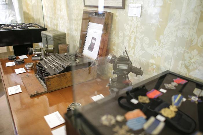 An Enigma cipher machine is on display among other wartime memorabilia pieces at an auction house in Bucharest, Romania, July 11, 2017. Inquam Photos/Octav Ganea/