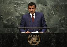 أمير قطر الشيخ تميم بن حمد آل ثاني يتحدث أمام الجمعية العامة للأمم المتحدة في نيويورك يوم 20 سبتمبر أيلول 2016. تصوير: مايك سيجار - رويترز