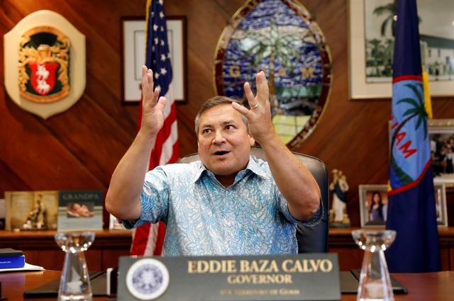 Guam Governor Eddie Calvo speaks during an interview with Reuters at the government complex on the island of Guam, a U.S. Pacific Territory, August 10, 2017.  REUTERS/Erik De Castro