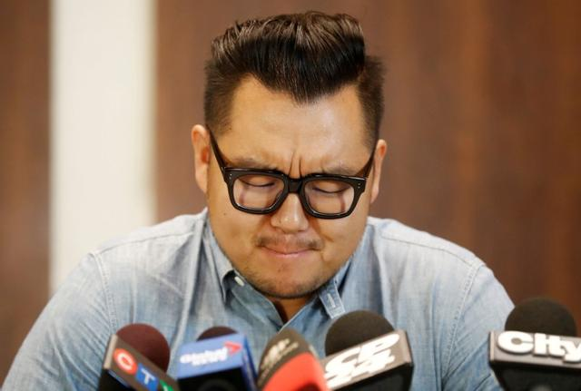 James Lim speaks about his father, Pastor Hyeon Soo Lim, who returned to Canada from North Korea after the DPRK released Lim on August 9 from being held for 31 months, during a news conference at the Light Presbyterian Church in Mississauga, Ontario, Canada August 12, 2017. REUTERS/Mark Blinch