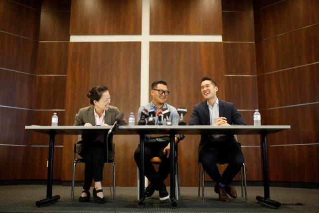 James Lim speaks about his father, Pastor Hyeon Soo Lim, who returned to Canada from North Korea after the DPRK released Lim on August 9 from being held for 31 months, alongside family spokesperson Lisa Pak (L) and church spokesperson Richard Ha (R), during a news conference at the Light Presbyterian Church in Mississauga, Ontario, Canada August 12, 2017. REUTERS/Mark Blinch