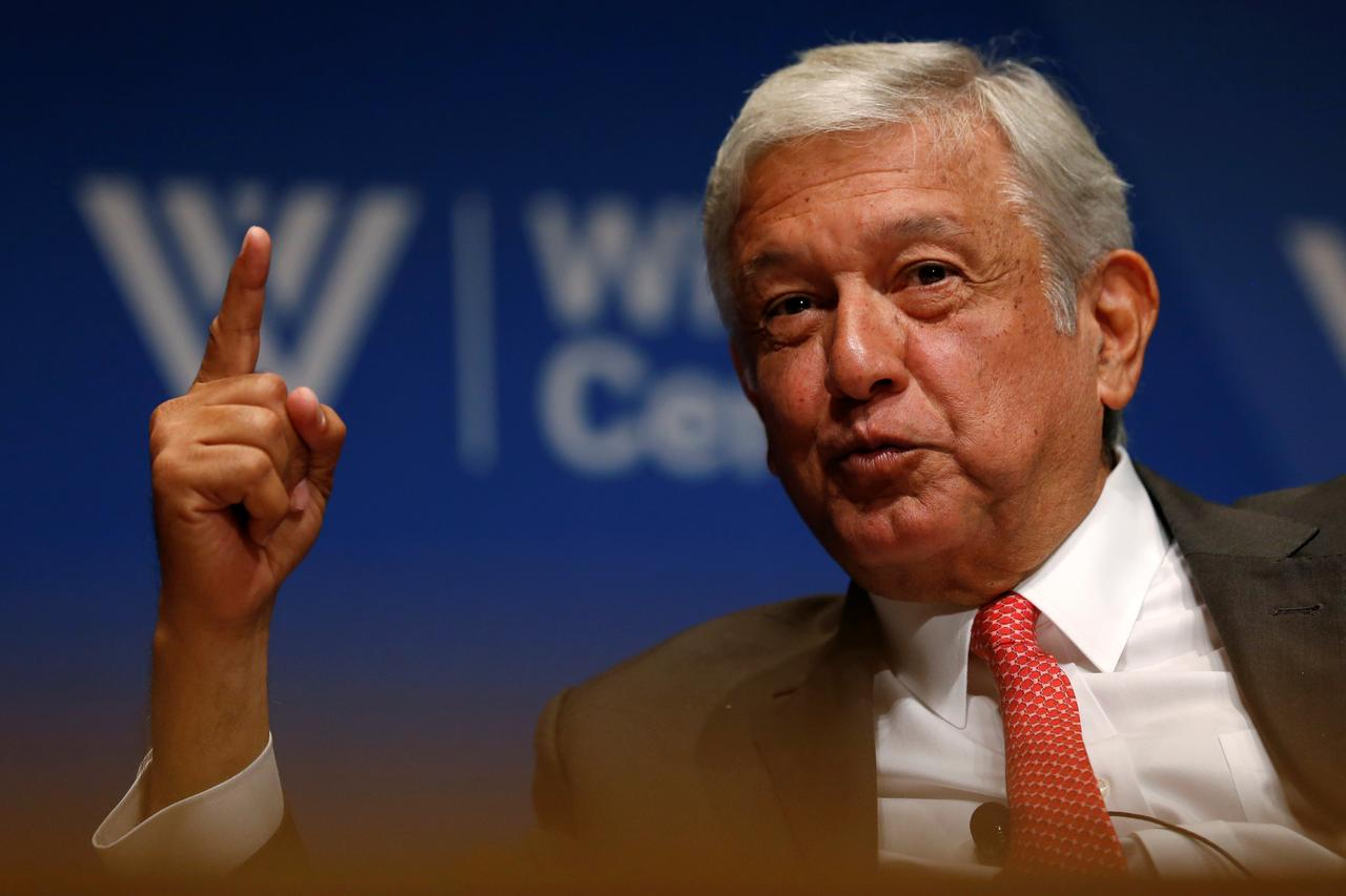 Mexico s presidential candidate andres manuel lopez obrador of the movement for national renewal morena party takes part in an event at the wilson center
