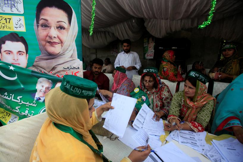 Wife of ousted PM Sharif wins by-election in test of support for ruling party