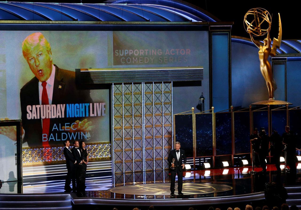 Emmy winners throw jabs at Trump, Spicer wheels into spotlight