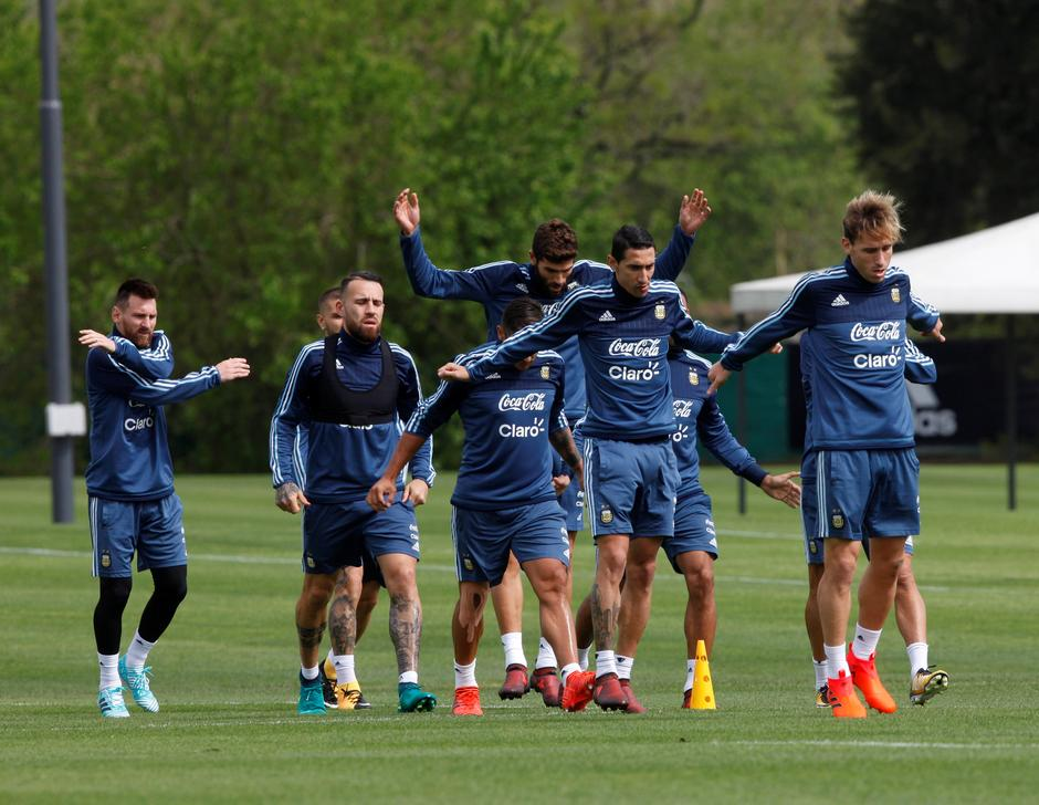 Argentine players during practice session ahead of the match against Peru