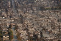 California wildfire aftermath from above