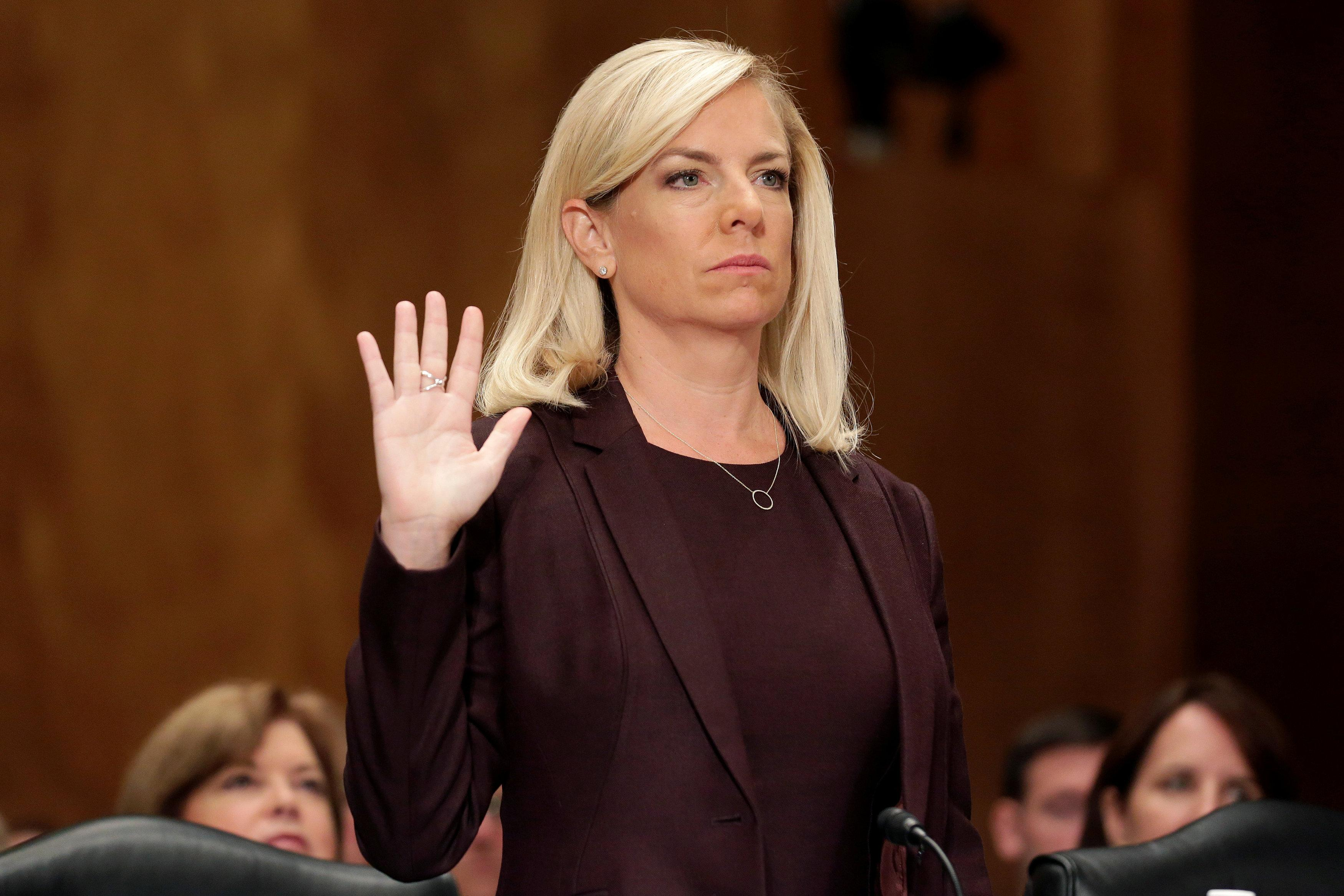 Kirstjen Nielsen is sworn in before testifying to the Senate Homeland Security and Governmental Affairs Committee on her nomination to be secretary of the Department of Homeland Security (DHS) in Washington, U.S. on November 8, 2017.   Joshua Roberts