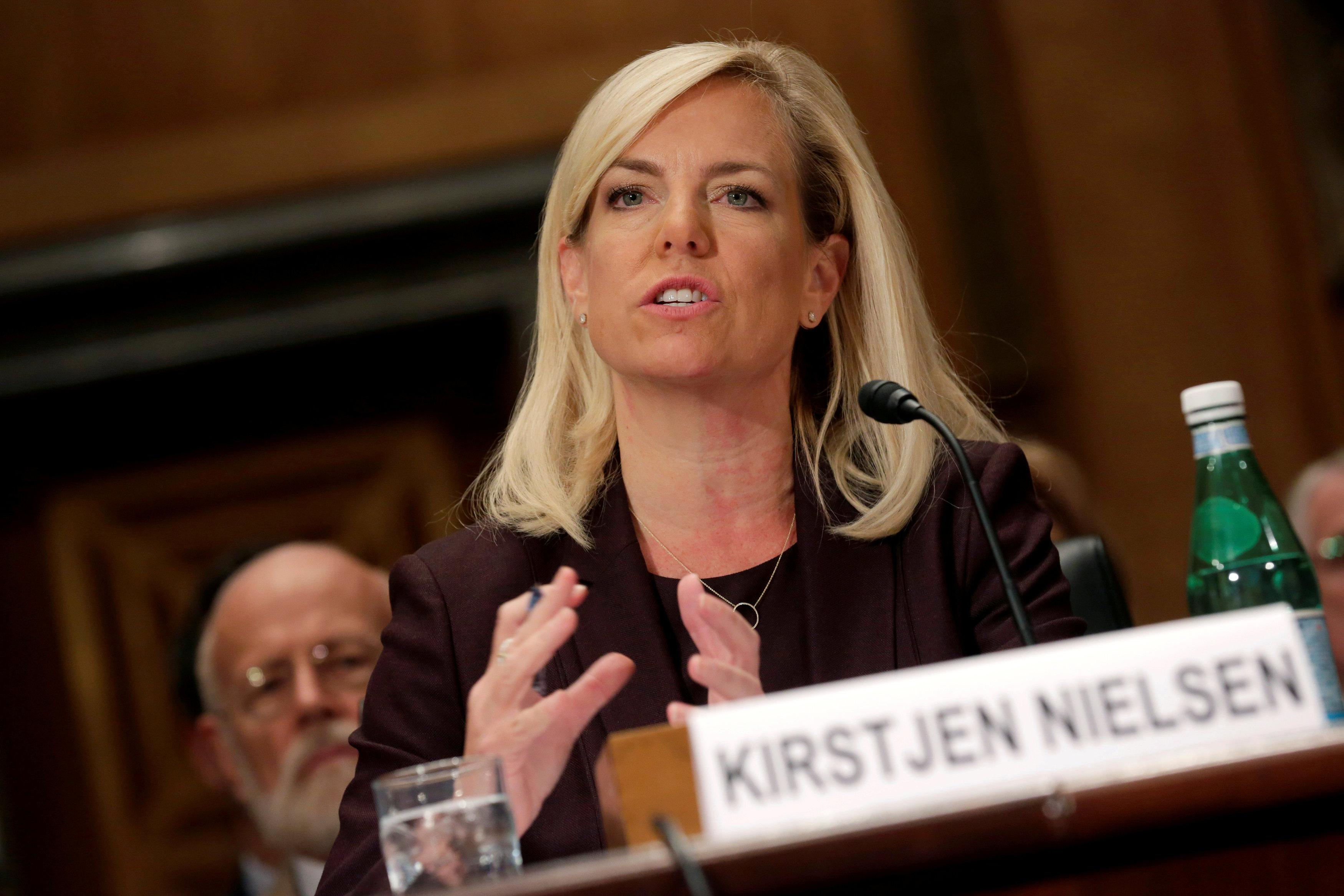 Kirstjen Nielsen testifies to the Senate Homeland Security and Governmental Affairs Committee on her nomination to be secretary of the Department of Homeland Security (DHS) in Washington, U.S. on November 8, 2017.   Joshua Roberts