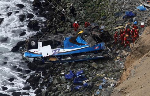 Bus plunges off cliff in Peru