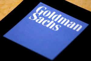 FILE PHOTO: The logo of Goldman Sachs is displayed in their office located...