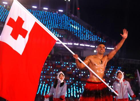 Tonga's bare-chested Olympic flag-bearer